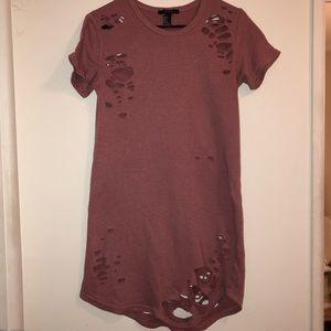 Distressed T shirt dress